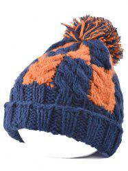 Flanging Check Pattern Ball Top Beanie -