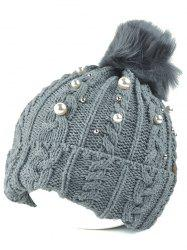 Flanging Faux Pearl Knit Ball Beanie -