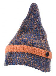 Outdoor Button Pointed Top Knitted Beanie