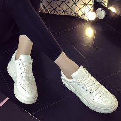 Breathable Tie Up PU Leather Athletic Shoes