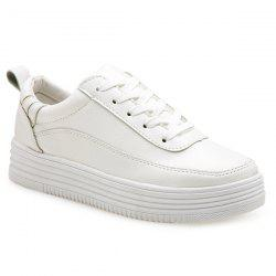 PU Leather Breathable Tie Up Athletic Shoes - WHITE 39