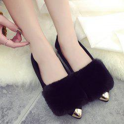 Faux Fur Metal Toe Flock Flat Shoes - BLACK