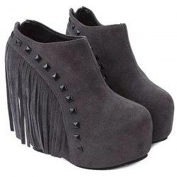 Hidden Wedge Rivets Ankle Boots -