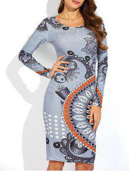 Long Sleeve Printed Slimming Dress - GRAY