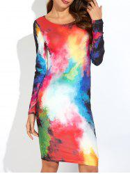 Long Sleeve Tie Dye T-Shirt Dress - COLORFUL 2XL