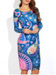 Paisley Print Long Sleeve Slimming Dress