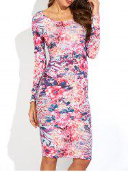 Ornate Floral Print Long Sleeve Dress -
