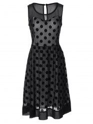 Vintage Polka Dot Sheer Skater Dress - BLACK 3XL