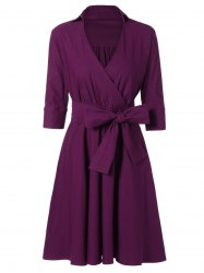 Vintage Surplice High Waist Belted Dress -