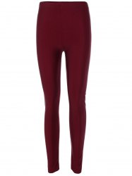 Elastic Waist Stretchy Slimming Leggings - BURGUNDY
