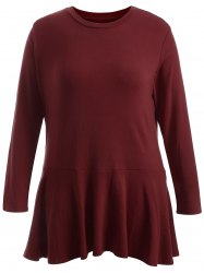 Plus Size Long Sleeve Flounce Dress -