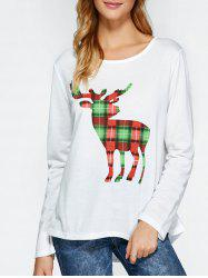 Plaid High Low Deer Pattern Christmas Tee - WHITE XL