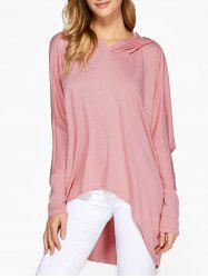 Hooded Batwing Sleeve High Low T-Shirt -