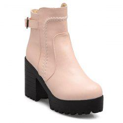 Stitching PU Leather Platform Chunky Heel Boots