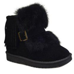 Buckle Faux Fur Fringe Snow Boots