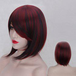 Short Oblique Bang Straight Double Color Synthetic Wig - RED WITH BLACK