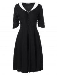 Vintage Button Embellished Contrast Dress - BLACK 2XL