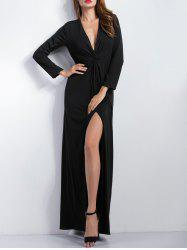 Elastic Waist Long Sleeve Split Maxi Dress