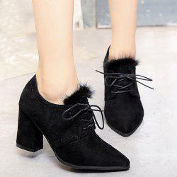 Lace Up Faux Fur Pumps - BLACK