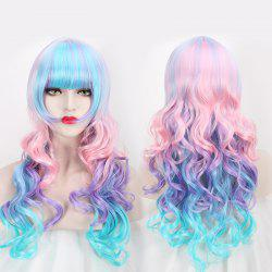 Colored Long Neat Bang Wavy Cosplay Lolita Synthetic Wig - COLORFUL