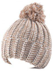 Knitted Colormix Ball Top Beanie - LIGHT KHAKI