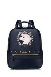 Embroidered Cartoon Sequins Backpack - DEEP BLUE