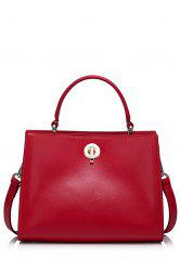 Metal Hasp Leather Handbag -