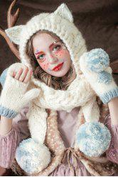 Ball Spliced Cat Crochet Scarf Hat