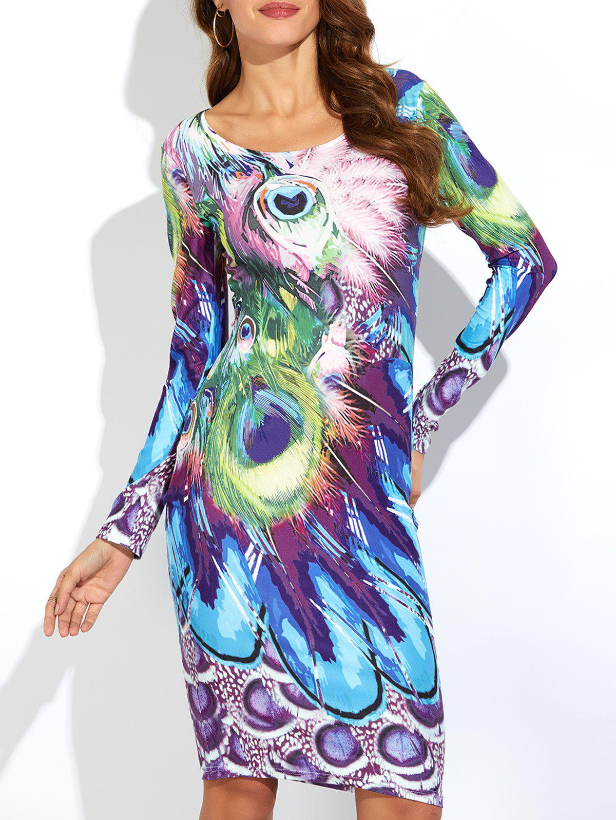 63 Off Peacock Feather Print Long Sleeve Dress Rosegal