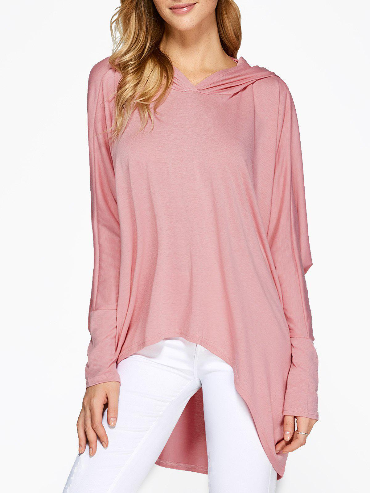 Trendy Hooded Batwing Sleeve High Low T-Shirt
