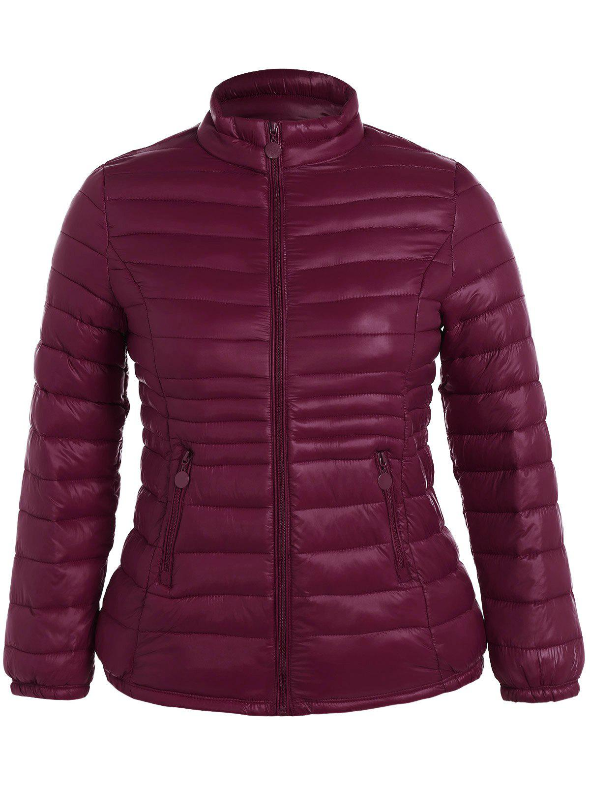 Buy Plus Size Double Pocket Quilted Jacket