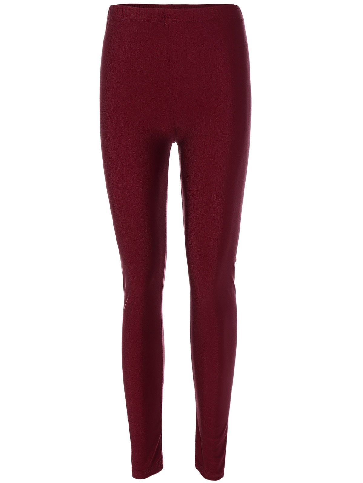 Elastic Waist Stretchy Slimming LeggingsWOMEN<br><br>Size: ONE SIZE; Color: BURGUNDY; Style: Active; Length: Ninth; Material: Polyester; Fit Type: Skinny; Waist Type: High; Closure Type: Elastic Waist; Pattern Type: Solid; Pant Style: Pencil Pants; Weight: 0.160kg; Package Contents: 1 x Leggings;