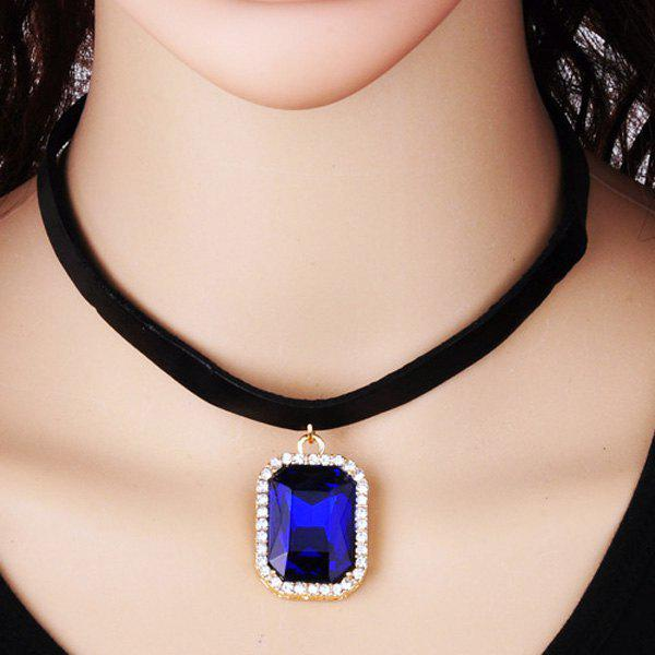 Store Rounded Rectangle Rhinestone Choker Necklace