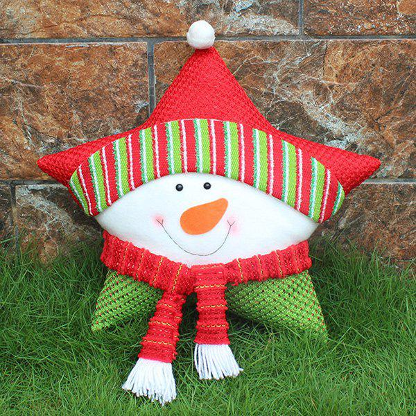 Christmas Party Decoration Supplies Snowman Star PillowHOME<br><br>Color: WHITE; Event &amp; Party Item Type: Party Decoration; Occasion: Christmas,Party; Size(L*W)(CM): 40*32; Weight: 0.400kg; Package Contents: 1 x Christmas Pillow;