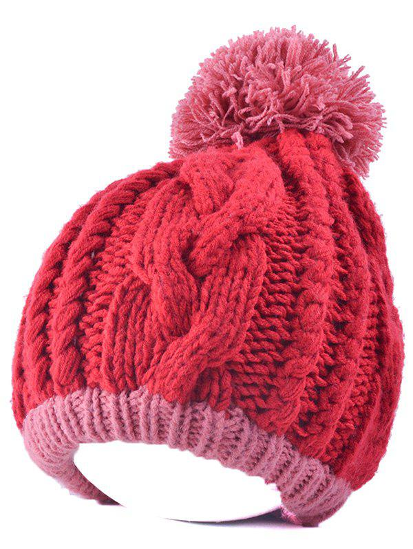 Store Twist Knit Double Color Ball Beanie