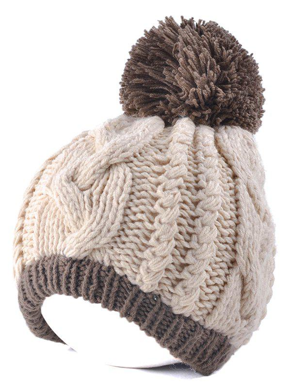 Discount Twist Knit Double Color Ball Beanie
