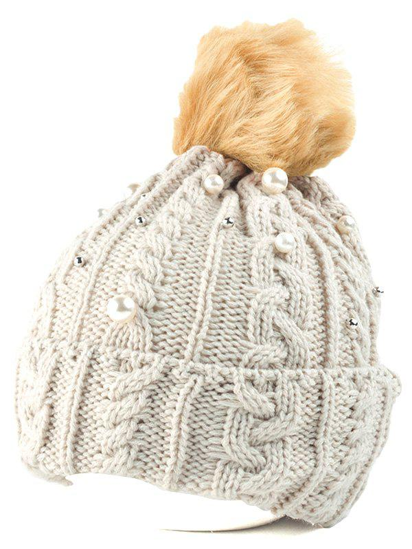 Fashion Flanging Faux Pearl Knit Ball Beanie