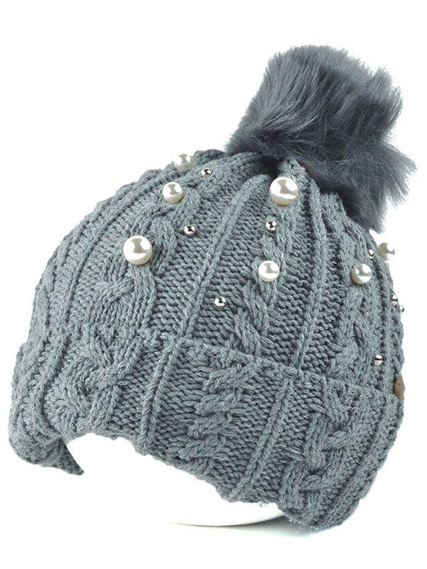 Shop Flanging Faux Pearl Knit Ball Beanie