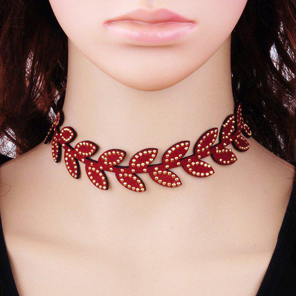 Chic Leaf Rhinestone Velvet Choker Necklace