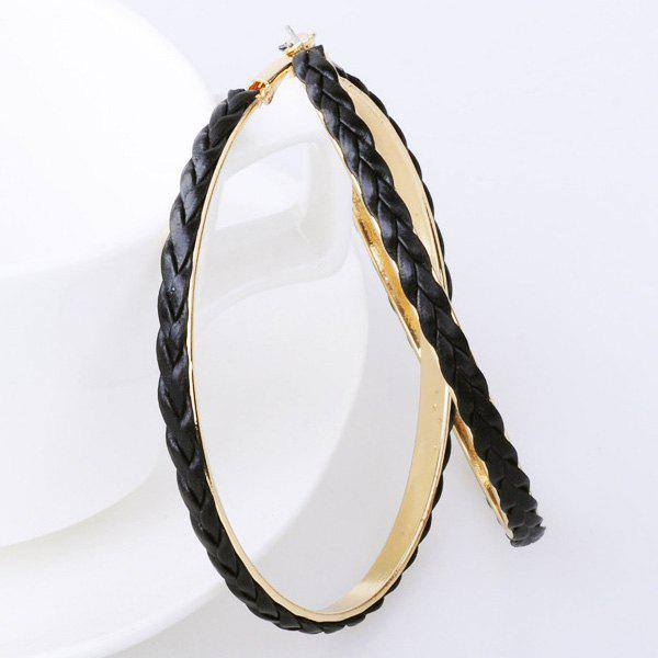 Faux Leather Braid Hoop EarringsJEWELRY<br><br>Color: BLACK; Earring Type: Hoop Earrings; Gender: For Women; Metal Type: Alloy; Style: Trendy; Shape/Pattern: Round; Weight: 0.040kg; Package Contents: 1 x Earrings (Pair);