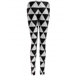 Triangle Print Bodycon Leggings - GUN METAL M