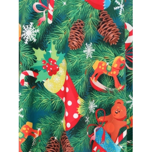 Plus Size Christmas Tree Print Party Dress -