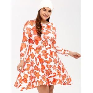 Plus Size Christmas Graphic Dress - ORANGEPINK 4XL