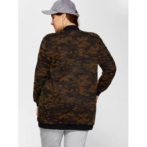 Double Pockets Fleece Camo Print Coat - JUNGLE CAMOUFLAGE 3XL