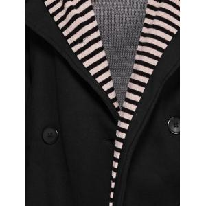 Double-Breasted Striped Spliced Hooded Peacoat -