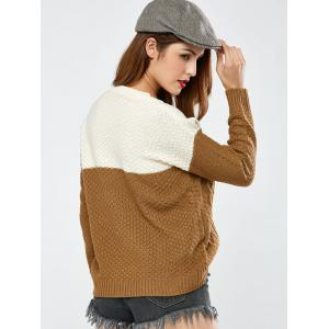 Color Block Pullover Cable Sweater -