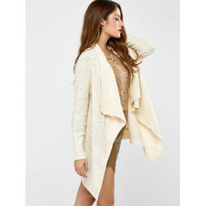 Long Sleeve Asymmetrical Long Open Front Cardigan - WHITE ONE SIZE