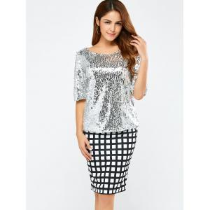 Sequined Short Sleeve Sparkly T-Shirt - SILVER L