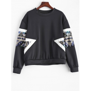 Sequined Patched Loose Sweatshirt