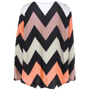 Plus Size Zigzag Adjustable Sleeve Tee - COLORMIX 3XL